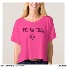 99% Unicorn T-shirt Style: Women's Bella+Canvas Boxy Crop Top T-Shirt  Your newest wardrobe essential: a fashion-forward tee in a super soft and flowy poly-viscose blend. Its stylish cropped and boxy silhouette, round neckline and short sleeves further accentuate this modern style must-have. affiliate