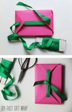 Fast gift wrap packaging and when out of tape Present Wrapping, Creative Gift Wrapping, Creative Gifts, Wrapping Ideas, Gift Wrapping Tutorial, Gift Wrapping Bows, Craft Gifts, Diy Gifts, Handmade Gifts
