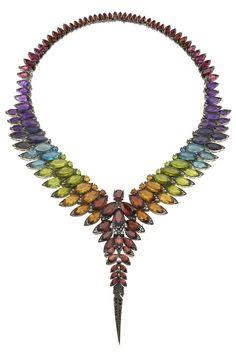 Stephen Webster's black diamond, citrine, amethyst, rhodolite, red garnet, blue topaz, peridot and iolite 18-karat white gold collar. [Courtesy Photo]