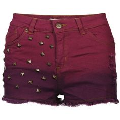 Brave Soul Women's Dip Dye Studded Denim Shorts (5.115 HUF) ❤ liked on Polyvore featuring shorts, bottoms, pants, short, wine, short shorts, denim shorts, destroyed jean shorts, ripped shorts and studded shorts