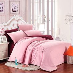 Pure Pink Colored and Wine Red Sheet Color Block Simply Chic Cute Style Youth Girls, Adult 100% Brushed Cotton Full, Queen Size Bedding Sets