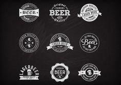 ビールのレトロなラベル集合 無料ベクター
