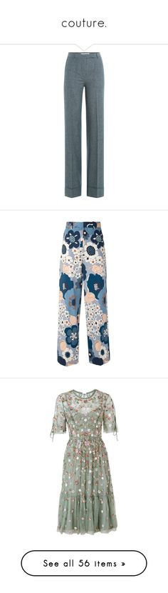 """""""couture."""" by savagemya ❤ liked on Polyvore featuring pants, bottoms, trousers, blue, blue pants, cotton trousers, blue cotton pants, blue wide leg trousers, zip pants and pantalones"""
