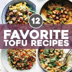 If you know us then you know we love tofu. We're talking tofu bowls, tofu noodles, tofu DESSERTS, and more. Here are some of our favorite easy tofu recipes! Firm Tofu Recipes, Vegetarian Recipes, Cooking Recipes, Vegetarian Options, Vegan Meals, Vegan Food, Vegan Vegetarian, Baked Crispy Tofu, Ways To Cook Tofu