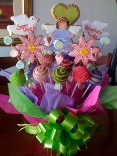 Arreglo de Galletas,Cake Pops y Masmelos para la mamá de Allena