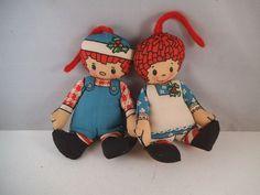 Vintage Raggedy Ann & Andy Cloth Doll Christmas Ornaments