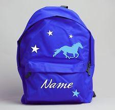 Kids Personalised Horse Print Rucksack Lime Blue Orange Red Pink School
