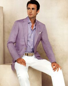 Mens Lavender blazer and lavender custom dress shirt. Purple Suits, Purple Blazers, Gentleman Mode, Gentleman Style, Sharp Dressed Man, Well Dressed Men, Summer Jacket, Herren Outfit, My Guy