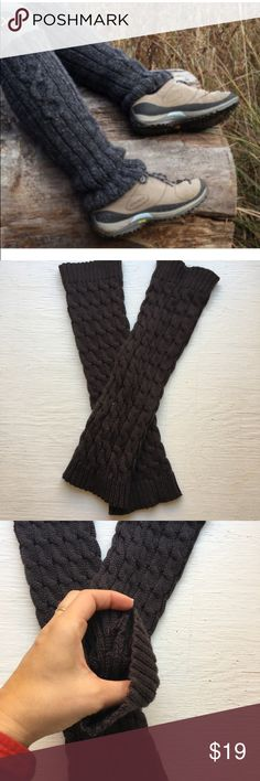 Charcoal Grey Leg Warmers NWOT. Never even tried them on. No holes, smells or flaws.  One size fits most**.   These will stretch some.  Pair them with tights, leggings, skirts or skinny jeans.  Can be worn under the boot also. Urban Outfitters Accessories Hosiery & Socks
