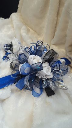 Silver Bracelet With Initial Code: 7409058771 Red Bouquet Wedding, Corsage Wedding, Bride Bouquets, Blue Wedding, Prom Corsage And Boutonniere, Wrist Corsage, Boutonnieres, Groom Boutonniere, Prom Flowers