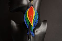 Long Leather feather earrings inspired by Catalina macaw colors, lightweight summer earrings, rainbow earrings #longearrings #rainbowearrings #parrotearrings #catalinamacaw #leatherfeathers #leatherearrings #lgbt #colorfulaccessories #rainbow #colorfulclothes #parrptfeathers