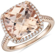 Blue Nile Cushion-Cut Morganite Diamond Halo Cocktail Ring ($2,500) ❤ liked on Polyvore featuring jewelry, rings, 14 karat gold ring, 14k ring, blue nile jewelry, halo diamond ring and pave setting ring