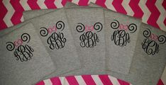 Monogrammed t-shirt with Spiral Minnie Mouse Ears and a bow of any color you would like. If your favorite bow color is not listed, No Problem!