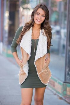 Told You So Fur Lined Suede Vest (Camel) - NanaMacs.com - 1
