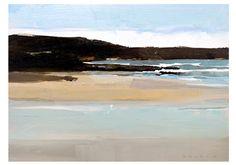 "Lake Entrance – original semi-abstract landscape painting (12x9"") by Simon Palmer (Australia)"