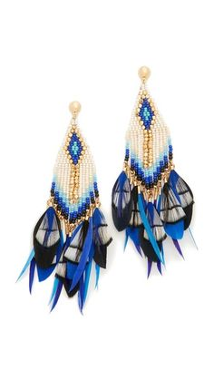 Clusters of colorful feathers add exotic appeal to these beaded GAS Bijoux earrings. Post closure.