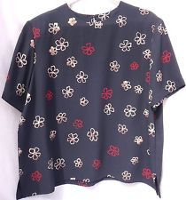Tanjay Womens 1X Navy TOP RED Gold Flowers Short Sleeves Shoulder Pads Button | eBay
