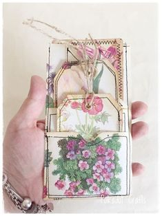 Your place to buy and sell all things handmade - Excited to share this item from my shop: 3 Sewn Vintage Botanical Junk Journal Pockets With T - Junk Journal, Journal Paper, Bullet Journal, House Journal, Card Tags, Gift Tags, Handmade Tags, Handmade Ideas, Fabric Journals