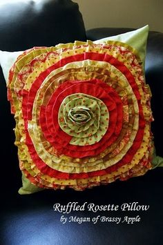 Ruffled rosette pillow - would be perfect in the L.R.