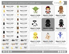 Star Wars  Your personal waterproof labels 68 Qty Free