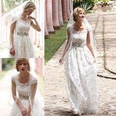 2015 Bohemian Lace Wedding Dresses with Sheer Scoop Neckline Cap Sleeves Garden Outdoor Country Bridal Gowns Cheap Beaded Beach Vestidos New Online with $122.7/Piece on Sarahbridal's Store   DHgate.com