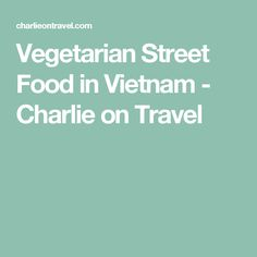 Vegetarian Street Food in Vietnam - Charlie on Travel