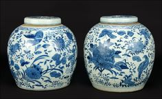 A Pair of Chinese Blue and White Porcelain Ginger Jars. : Lot 1703328