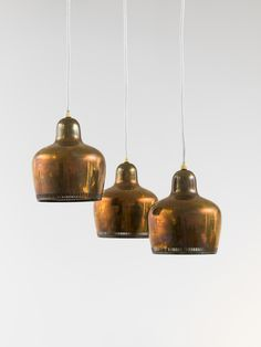 "Alvar Aalto, 'Three ""Golden Bell"" hanging lamps Mofel A330,' 1937, Friedman Benda"
