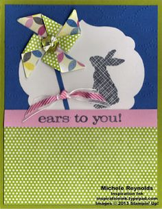 Ears to You Pinwheel Blowing Bunny by Michelerey - Cards and Paper Crafts at Splitcoaststampers