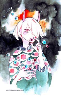 "maruti-bitamin: ""medama pen + watercolour """