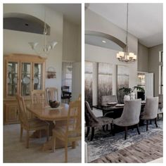 This staging went from dated to renovated. 