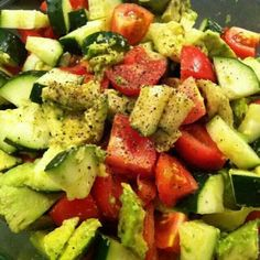 Cucumber Avacado Salad: 3washed tomatoes, 2 ripe Avacados 1 large cucumber, 2tbs balsamic vinegar, ground pepper, lemon or lime  juice, chop, mix, and enjoy!!