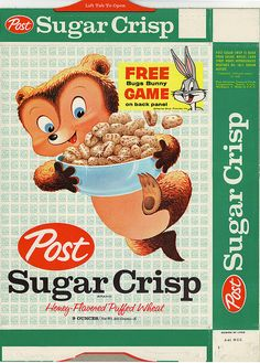 Sugar Crisp cereal box with Bugs Bunny trapped game, 1961 Vintage Food Labels, Vintage Packaging, Vintage Recipes, Design Packaging, Retro Advertising, Vintage Advertisements, Vintage Ads, Sugar Crisp, Flyer And Poster Design