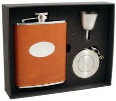 "Visol ""Denton"" 6oz Brown Leather Stellar Flask Gift Set . $32.95"