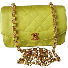 Pre-owned Chanel Diana Silk Handbag ($2,212) ❤ liked on Polyvore featuring bags, handbags, green, women bags handbags, hand bags, zip purse, green purse, chanel handbags and handbag purse