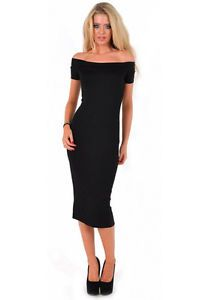 New Womens Ladies Black Off The Shoulder Cocktail Ball Dress Size 8,10,12,14 | eBay
