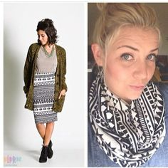 Snow or rain in your state? Need a scarf ? Our #Cassieskirt can be worn with leggings and boots or as a scarf!  2 products in 1!  www.facebook.com/FlanagansLularoe/photos_albums