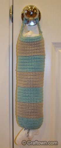 Free Crochet Pattern! Easy, Simple, And Useful, Striped Grocery Bag Holder. I can make this and use up some of my leftover bits.
