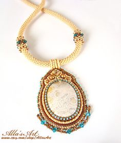 Seed bead necklace with Fossil coral by AllasArt on Etsy, $193.00