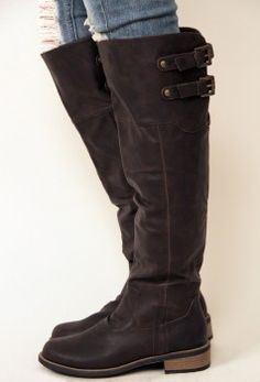 Chocolate knee high boots by qupid with two upper buckles in back and a side zipper closure. Boots for the Fall Crazy Shoes, Me Too Shoes, Women's Shoes, Teen Girl Shoes, Cute Boots, Men's Boots, Fall Boots, Buckle Boots, Fashion Boots