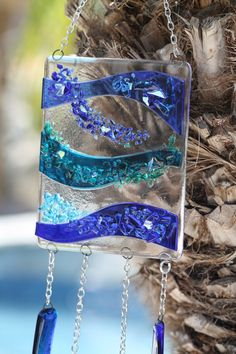 Fused Glass Windchime/Suncatcher Blue and Breezy by JMFusions, $65.00