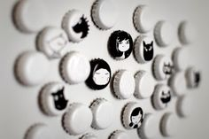 Spraypaint bottlecaps white.  Draw faces with permanent marker.  Glue cardboard on the back to fill gap in lid.  Glue on magnet.