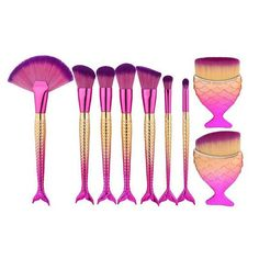 9 Mermaid Shaped Makeup Brush Set Big Fish Tail Foundation Powder Eyeshadow Make-up Brushes Contour Blending Cosmetic Brushs