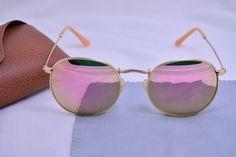 bc1d5e8c8 Alta calidad redondo del Metal gafas de sol mujeres con la caja mate marco  dorado de cristal rossi espejo de la lente oculos feminino 100% de  protección UV ...
