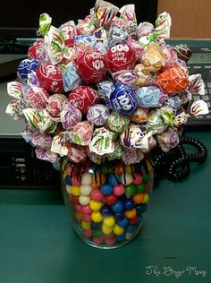 Congrats pop sucker bouquet. Making this for the hubby and dropping it off at his work. :)