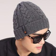 Nouvelle - coréen hot hommes nouveaux hiver classique laine chaude bonnet en tricot loisirs de plein air de façon à tête manches bonnets, Hiver homme casquettes