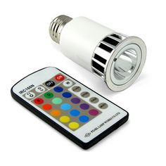 Super bright LED bulb that fits in a standard light socket and can transition through the full color range. Brightness controls and individual colors can be selected using the included remote. $29.99