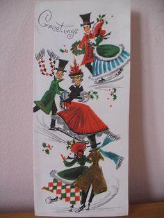 Skating Couple, Victorian Dress, 1950's Vintage Christmas Greeting Card