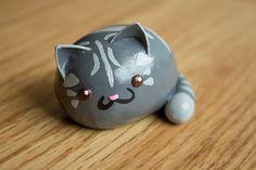 Kawaii Chibi Kitties Polymer Clay Figure Made to door HappyHuskyy
