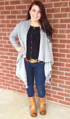 Ansley wearing new short Frye Boots, new grey cardigan, and Jenny Krauss belt! Now available at Emma Laura-Graceful Gold located in Ivy Place 2032B Veterans Blvd. Dublin, GA 31021 478-272-2095 www.emmalaura.com Check us out on Facebook at https://www.facebook.com/pages/GRACEFUL-GOLD-JEWELRY-CO/163839008625